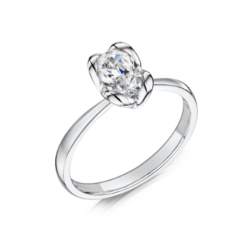 0.5 Carat GIA GVS Diamond solitaire 18ct White Gold. Oval diamond Engagement Ring MWSS-1178/050